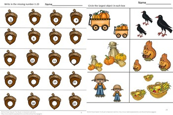 Fall Kindergarten Math Special Education Math Autism Cut and Paste Fine Motor