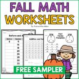 Fall Math Worksheets Freebie