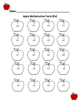 Fall Math Worksheets- Multiplication 8's, 9's, 10's