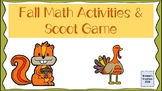 Fall Math activities- Number bond, addition and subtracton scoot, true/false sor