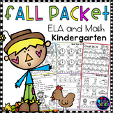 Fall Activities for Kindergarten Math and Literacy Worksheets