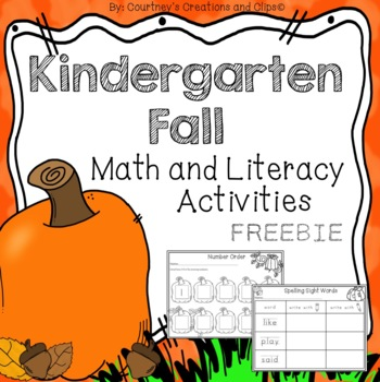 Fall Math and Literacy Activities Kindergarten {Freebie}