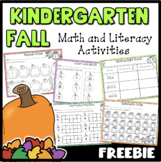Fall Math and Literacy Activities Kindergarten {Freebie}