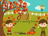 Fall Autumn Math and Literacy Centers for Kindergarten