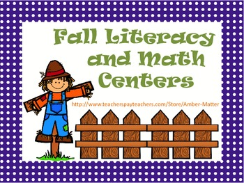 Fall Math and Literacy Centers Grades 1-2
