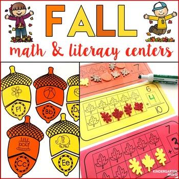 Fall Math and Literacy Centers - Kindergarten