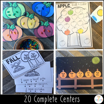 Fall Math and Literacy Centers and Activities for Preschool October