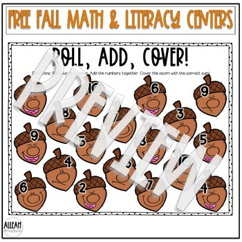 Fall Math and Literacy Centers for Kindergarten FREEBIE