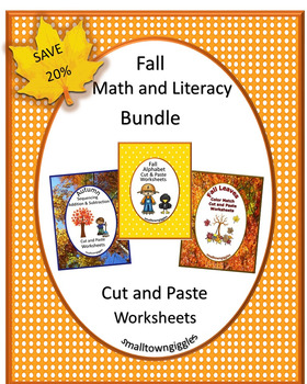 Fall Activities Bundle Math and Literacy Centers Cut and P
