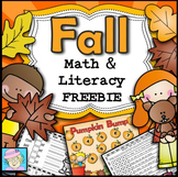 Fall Math Activities Kindergarten 1st 2nd Grade FREE | Fall Reading Activities