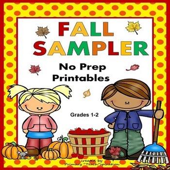 Fall Math and Literacy NO PREP Printables Sampler