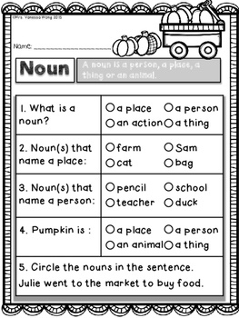 Fall Math and Literacy No Prep Printables First Grade