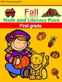 Fall Math and Literacy No Prep Printables First Grade