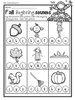 Fall Activities for Kindergarten Math and Literacy No Prep Printables