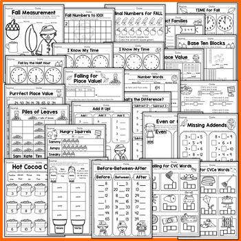 Fall Math and Literacy Packet NO PREP (1st Grade)
