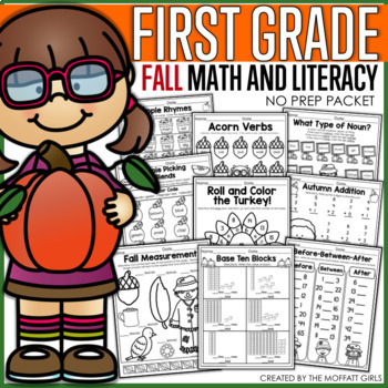 Fall Math and Literacy Packet NO PREP (1st Grade)