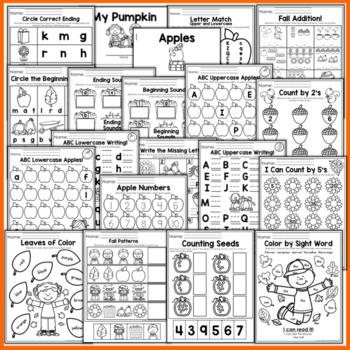 Fall Math and Literacy Packet NO PREP (Kindergarten)