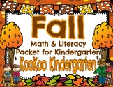Fall Math and Literacy Printable Packet for Kindergarten