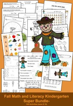 Kindergarten Math: Kindergarten Literacy: Thanksgiving: Bundle-104 Activities