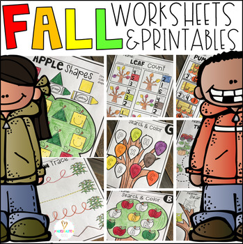 Fall Math and Literacy Worksheets for Preschool