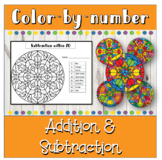 Fall Math color by number addition and subtraction