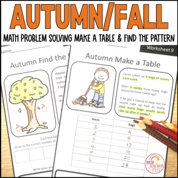 Fall Maths Problem Solving Find the Pattern and Make a Tab