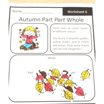 Autumn Fall Math Problem Solving Part Part Whole Strategy Worksheets