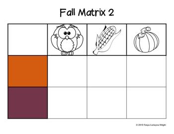 Fall Matrix Sorting Activity