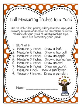 Fall Measuring Inches to a Yard {CCSS 2.MD.A.1}
