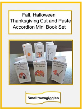 Fall Mini Accordion Book Cut Paste Counting Sorting Color Recognition P-K,K,