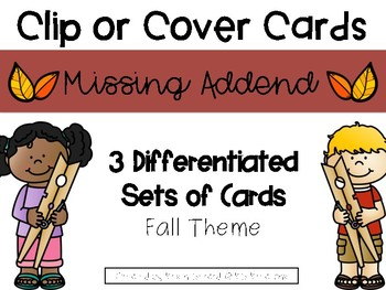 Fall Missing Addend Clip or Cover Cards