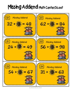 Fall Missing Addends 2-Digit Numbers Scoot/Math Center CCSS