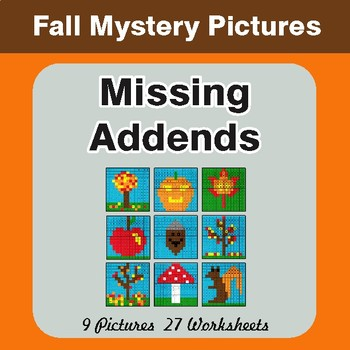 Fall: Missing Addends - Color-By-Number Math Mystery Pictures