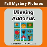 Fall Math: Missing Addends - Color-By-Number Math Mystery Pictures