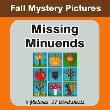 Fall: Missing Minuends - Color-By-Number Math Mystery Pictures