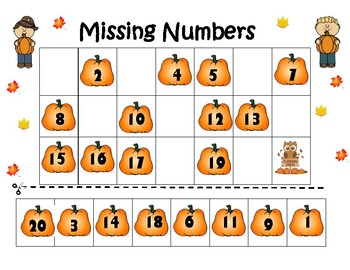 Fall Missing Number worksheet by Kute in Kinder | TpT