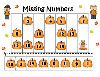 Fall Missing Number worksheet