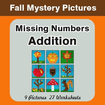 Fall: Missing Numbers Addition - Color-By-Number Math Mystery Pictures
