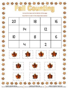 Fall Missing Numbers Backwards from 20 - Difficult