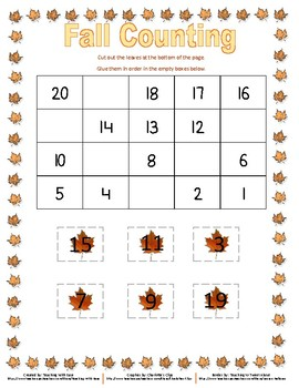 Fall Missing Numbers Backwards from 20 (Easy)
