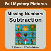 Fall: Missing Numbers Subtraction - Color-By-Number Myster