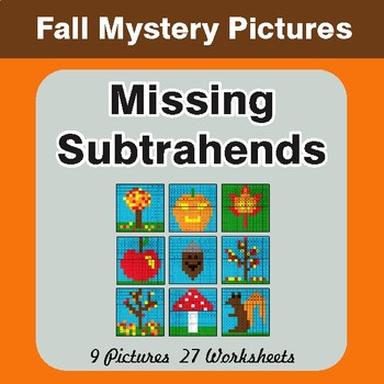Fall: Missing Subtrahends - Color-By-Number Math Mystery Pictures