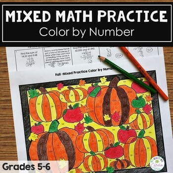 Fall Math  Mixed Math Practice Color by Number