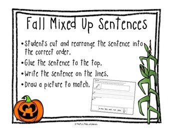 Fall Mixed-Up Sentences Pack