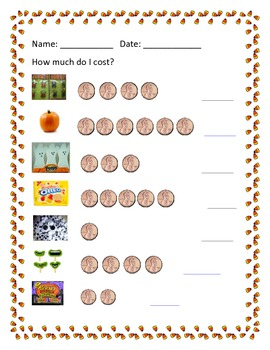 fall money worksheets by erin zaleski teachers pay teachers. Black Bedroom Furniture Sets. Home Design Ideas