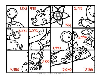 Fall Monster 2 x 2 Multiplication Puzzle