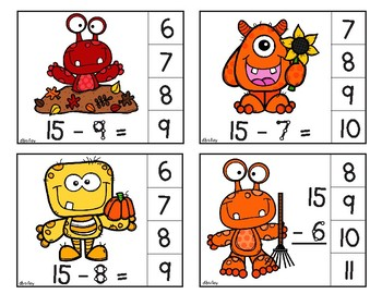 Fall Monster Clip Cards using Touch Math facts 11-20