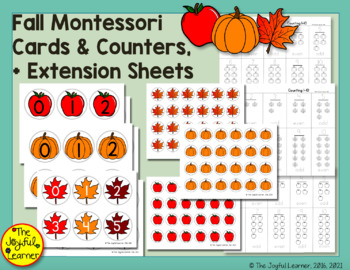 Fall Montessori Cards & Counters + Extension Sheets
