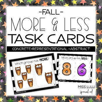 Fall More & Less Task Cards