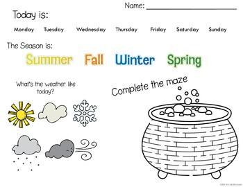 Fall Morning Work Kindergarten and 1st grade